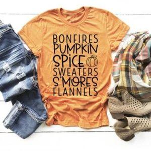 Tops - Bonfires Pumpkin Spice Sweaters Smores Tee Shirt